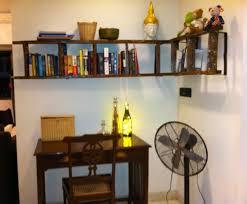 Brown Ladder Shelf Decorating Charming Brown Wooden Ladder Bookshelf On White Wall
