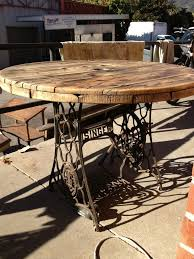 outdoor tables made out of wooden wire spools sewing machine leg spool table image only muebles pinterest