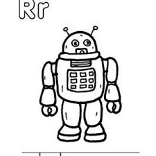 learn capital and small letter r for robot coloring page bulk color