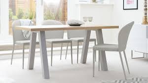 Oak Dining Room Contemporary 6 Seater Oak And Matt Grey Dining Table Uk