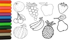 fruits coloring pages for children coloring orange banana apple