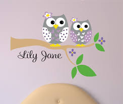 childrens decor owl wall decal with name owl on branch baby childrens decor owl wall decal with name owl on branch baby name vinyl wall