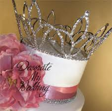 crown cake toppers decorate my wedding swarovski crystals cake crown cake topper demi