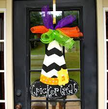 witch hat door hanger halloween door hanger witch wreath
