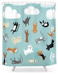 Nerdy Shower Curtain Raining Cats And Dogs Shower Curtain Contemporary Shower