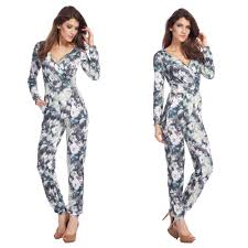 jumpsuits and rompers for casual floral pattern v neck sleeve jumpsuit