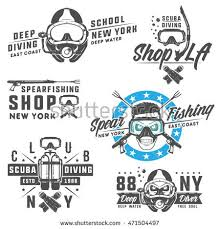 set scuba diving elements emblemslogo printstattoolabel stock