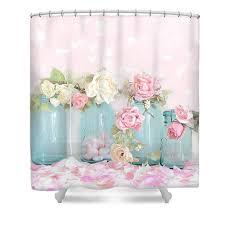 dreamy shabby chic pink white roses vintage aqua teal ball jars
