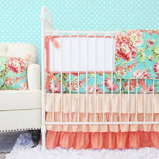 Gray And Pink Crib Bedding Coral Camilla Ruffle Baby Bedding Caden
