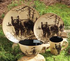 rustic wildlife dinnerware sets with moose designs