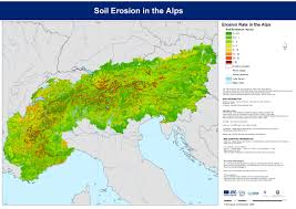 Alps Mountains Map Actual Erosion Rusle In The Alpine Space