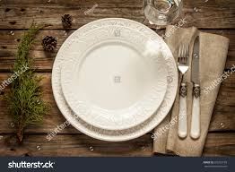 vintage rustic christmas table setting above stock photo 225351109