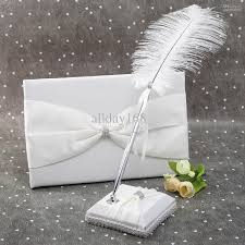 guest book and pen set 2018 wedding favors wedding party white rhinestone chain feather