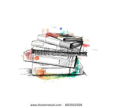 stack books isolated on white hand stock vector 603502508