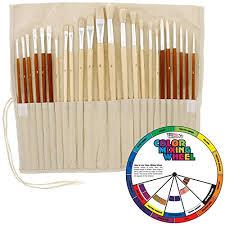 24pc oil u0026 acrylic paint long handle artist paint brush set
