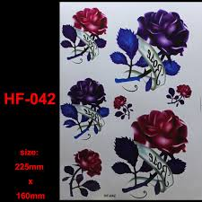3d big red purple rose tattoo decals body art decal rose