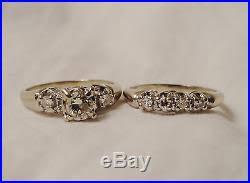 Vintage Wedding Ring Sets by Vintage Antique Mine Cut Diamond 14k Engage Wedding Ring Set