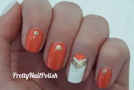 easy elegant nail art tutorial gold white coral youtube