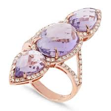 stone rings jewelry images Amethyst diamond split shank ring 14k rose gold three stone jpg