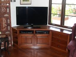 Corner Console Cabinet Bedroom Customized Brown Varnished Oak Wood Media Console Table