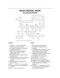 crossword puzzle mean median mode