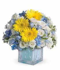baby flowers baby s blue block bouquet at from you flowers