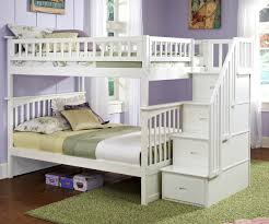 White Bunk Beds With Stairs Twin Over Twin White Hardwood Bunk Bed - White bunk beds twin over full with stairs