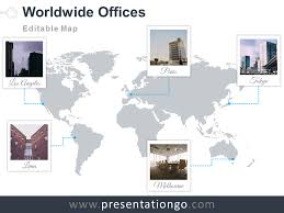 world map offices powerpoint template presentationgo