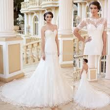 charming 2015 lace mermaid wedding dress with short sleeve jacket