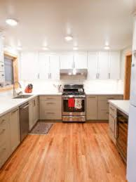 white kitchen cabinets wood trim two tone kitchen remodel g christianson construction