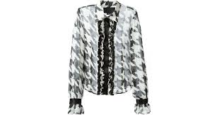 houndstooth blouse lyst philipp plein houndstooth blouse in white
