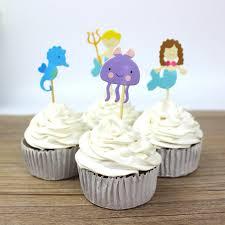 Ocean Cake Decorations Aliexpress Com Buy 24 Pcs Lot Underwater World Mermaid Sea Horse