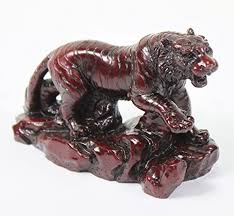 3 small red proud hunting tiger statue figurine chinese zodiac