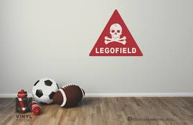 legofield sign with skull and bones brick wall decal