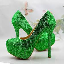 wedding shoes green cusotm handmade green rhinestone wedding shoes special event high