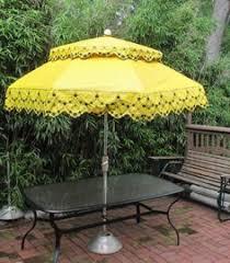 vtg mid century burnt orange patio umbrella tilt flowers fringe