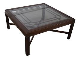 chippendale style cherry glass top coffee table chairish