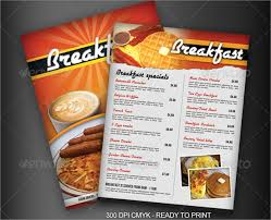 flyer menu template sle breakfast menu template
