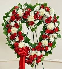 funeral wreaths funeral flowers in standing open heart