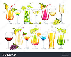 alcoholic drinks clipart vector collection cocktails on transparent background stock vector