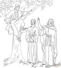 jesus meets zacchaeus coloring page free printable coloring pages