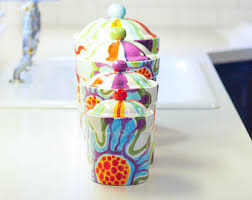 colorful kitchen canisters sets canister sets etsy