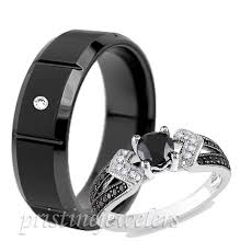 black wedding band sets black wedding rings his and hers beautiful engagement rings
