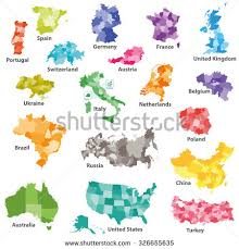 country maps isolated colored regional country maps stock vector 326655635