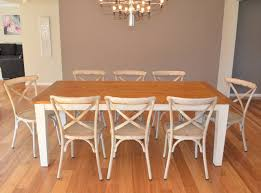French Provincial Dining Room Furniture Two Tone Timber Leura 8 Rectangle French Provincial Cross Back