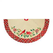 christmas skirt 48 embroidered cardinal birds christmas tree skirt with plaid
