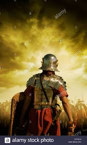 rear view of a roman soldier stock photo royalty free image