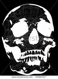 single skull spider web isolated on stock vector 750683317