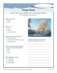 visual clues inference worksheets 4th 5th middle