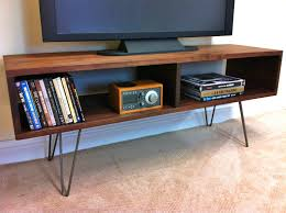 image of mid century modern tv stand with book shelf home